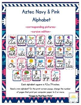 Aztec Navy & Pink Classroom ABC Cursive Printables