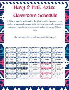 Aztec Navy & Pink Print Classroom Schedule