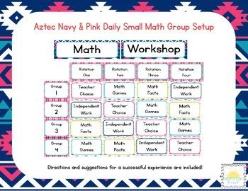 Aztec Navy & Pink Themed Classroom Math/Center Workshop Setup