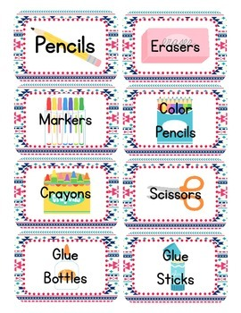 Aztec Navy & Pink Themed Classroom Supply Tags