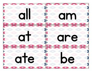 Aztec Navy & Pink Themed Décor Dolch Words (Pre-Primer- 3rd Grade)