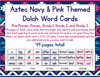 Aztec Navy & Pink Themed Décor Dolch Words (Pre-Primer- 3r