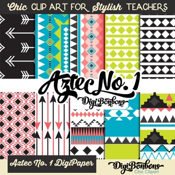 Aztec No. 1 Digital Paper Patterns in Bright Colors