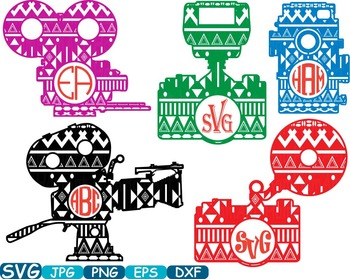 Aztec Old Camera Circle Cutting File SVG Monogram Frame Clipart school -259S