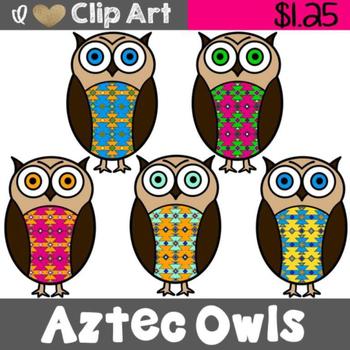 Aztec Owls Clip Art