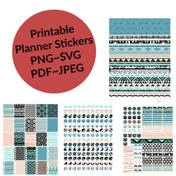 photo about Printable Stickers Sheets referred to as Aztec Behavior Package deal of Stickers - 4 Sheets of Printable Planner Stickers