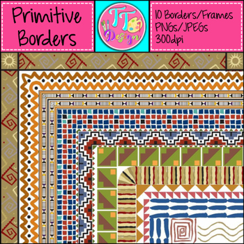 Ancient Civilization/Primitive Borders Frames Clip Art CU OK