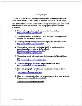 Aztec Spy Report: Webquest/Writing Activity