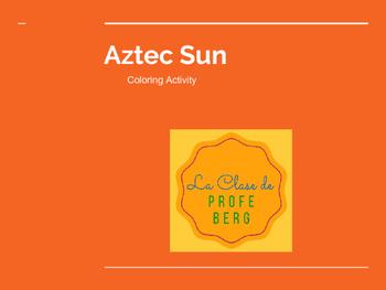 Aztec Sun- Coloring Activity