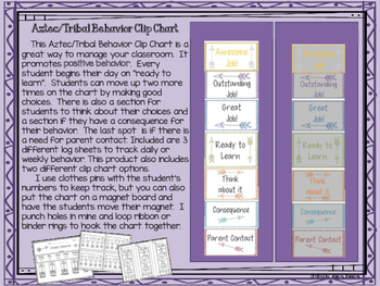 Aztec / Tribal Behavior Clip Chart with 3 positives Special Request