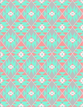 Aztec Tribal Print Digital Background Paper {Peaches & Teals}