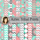 Aztec Tribal Print Digital Background Paper {Peaches & Teals}