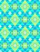 Aztec Tribal Print Digital Background Paper {Blue, Green & Teal}