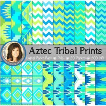 Aztec Tribal Print Digital Background Paper Blue Green Teal