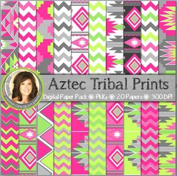 Aztec Tribal Print Digital Background Paper {Bright Pinks & Greens}
