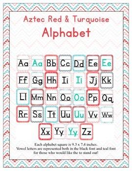 Aztec Turquoise & Red ABC Printables