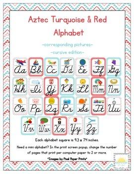 Aztec Turquoise & Red Classroom ABC Cursive Printables