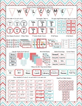Aztec Turquoise & Red Classroom Bundle Decor