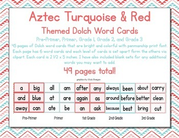 Aztec Turquoise & Red Classroom Decor Dolsh Word Cards (Pre-Primer- 3rd Grade)