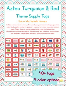 Aztec Turquoise & Red Themed Classroom Supply Tags