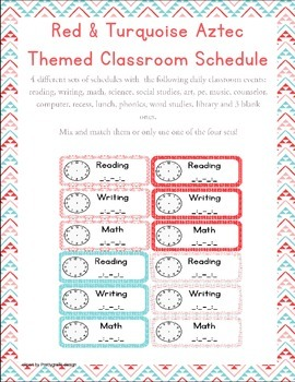 Aztec Turquoise & Red Themed Classroom Schedule