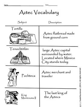 Aztec Visual Vocabulary Worksheet! BONUS Montezuma II BW  Clip-Art