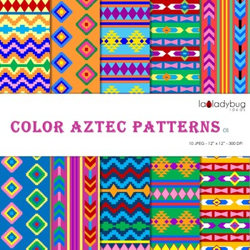 Aztec patterns Wallpapers. Tribal bright color digital papers.
