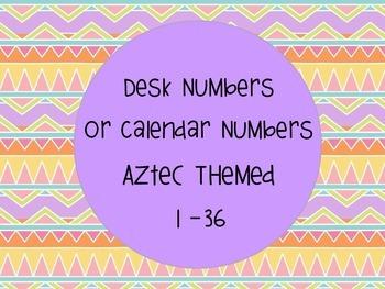 Aztec Theme Desk Numbers Calendar Number 1-36
