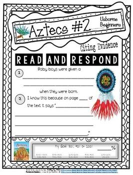 AZTECS Citing Evidence USBORNE BEGINNERS Reading Response