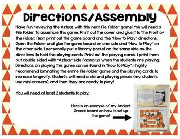 Aztecs Game (File Folder Board Game)