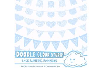 Azure Lace Burlap Bunting Banners Cliparts, multiple light blue lace texture