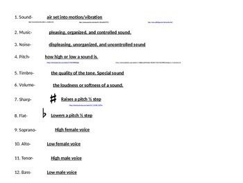 C- 3rd gr & up music terms study guide power point guide
