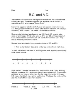 B.C. and A.D. - Western Calendar Time Activity