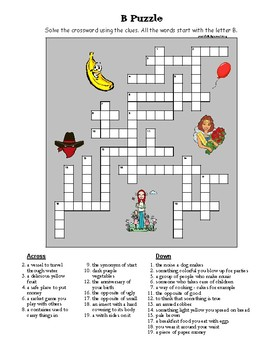 B Crossword Puzzle (reading, simple definitions as clues)