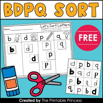 B D P Q Cut & Paste Letter Sort FREE