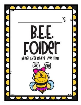 B.E.E. Take Home Folder Cover Page and Letter