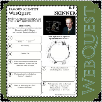 B. F. SKINNER - WebQuest in Science - Famous Scientist - Differentiated
