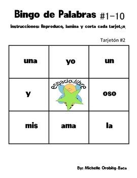 B-I-N-G-O! Lotería de Palabras para Kinder