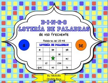B-I-N-G-O! Lotería de Palabras de Uso Frecuente palabras del 25-49
