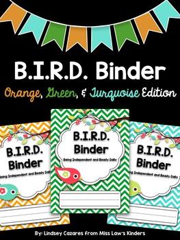 B.I.R.D. Binder: Orange, Green, & Turquoise Edition {Customizable}