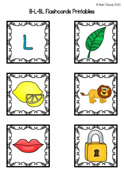 B - L - Bl Flash Cards for Memory or Sorting