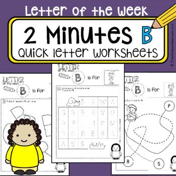 B - Letter of the week - NO PREP preschool & kindergarten letter work worksheets