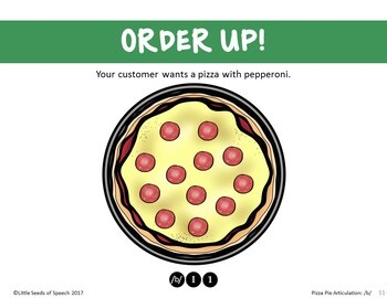 B SOUND Pizza Articulation Cards for Single & Multisyllabic Words & Sentences