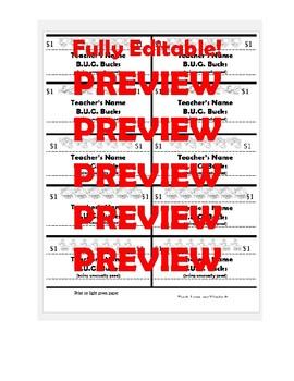 B.U.G. Reward System: Parent Letter/Email, B.U.G. Bucks, and B.U.G. Store Menu