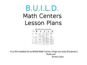 B.U.I.L.D. Math Centers Lesson Plan Template