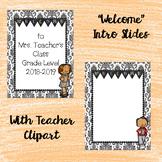 B/W Back to School/Meet the Teacher Powerpoint w/headings