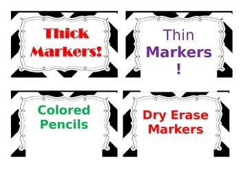 B & W Classroom Supply Labels