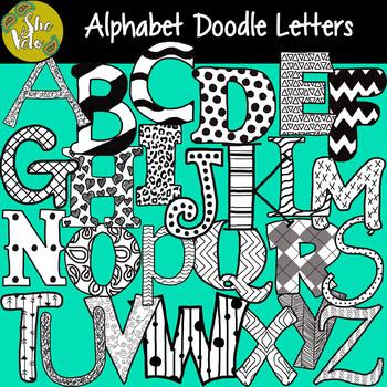 B&W Doodle Alphabet Letters, Hand Drawn PNG Clip Art