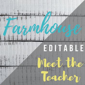 B&W Farmhouse Meet the Teacher Template Editable SPANISH AND ENGLISH