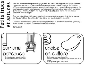 B&W Flexible Seating French Posters (Editable) - Les sièges flexibles, affiches